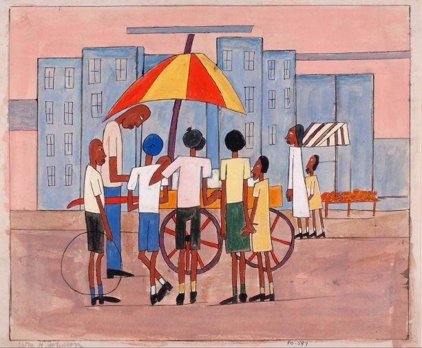 """Children at Ice Cream Stand"" by William H. Johnson"