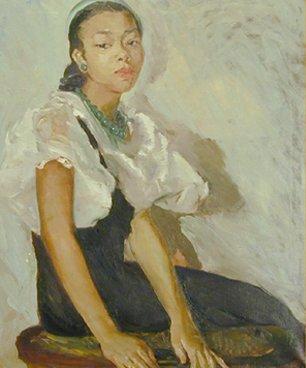 """Girl in Green Cap"" by Laura Wheeler Waring"