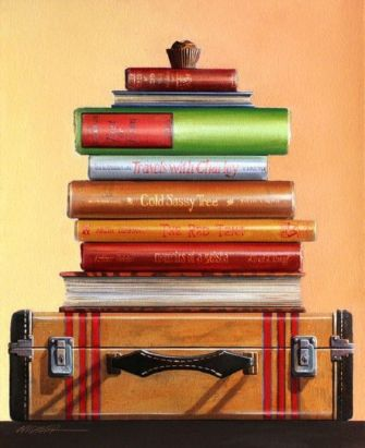 Painting of Books by Wendy Chidester
