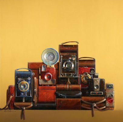 Painting of Vintage Cameras by Wendy Chidester