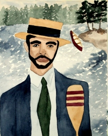 Watercolor Painting of a Man in a Boater Hat with a Canoe