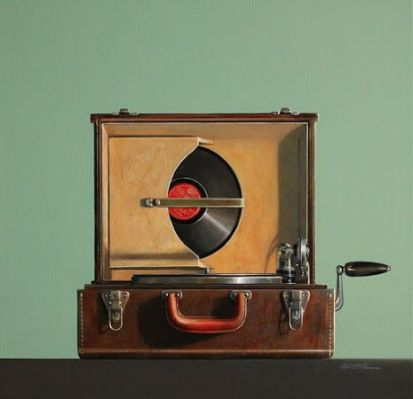 Painting of a Vintage Record Player by Wendy Chidester
