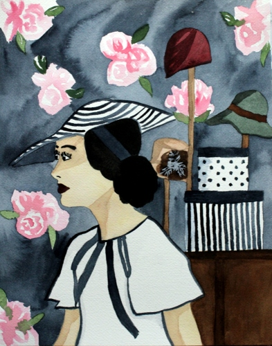 The Milliner by Cindy Adelle Richard a woman dressed in vintage clothes and a hat with a hat shop as a backdrop