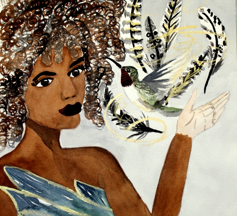 The Dream Maker by Cindy Adelle Richard An African American Woman with floating feathers and a hummingbird